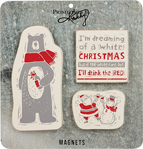 Primitives by Kathy Christmas Block Print 3 Piece Magnet Set, I'll I'll Drink The Red