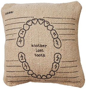 "Primitives by Kathy Mini Linen Throw Pillow, 5.25"" x 5.25"", Another Lost Tooth"