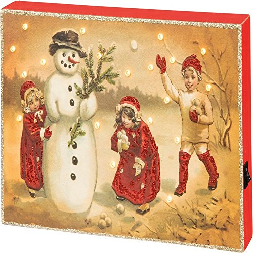 Primitive by KathyKids With Snowman 12 Inches x 8 Inches Glitter Lights Paper LED Box Decorative Signs