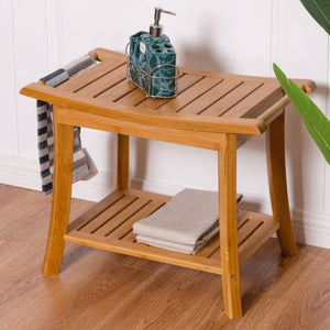Bamboo Shower Seat Bench Bathroom Spa Bath