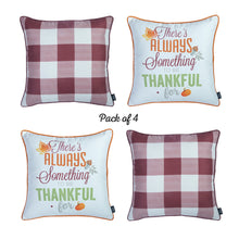 "Load image into Gallery viewer, Fall Season Thanksgiving Thankful Gingham Square 18"" Throw Pillow Cover (Set of 4)"