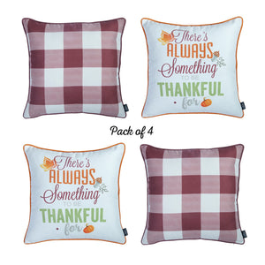 "Fall Season Thanksgiving Thankful Gingham Square 18"" Throw Pillow Cover (Set of 4)"