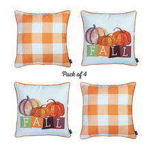 "Load image into Gallery viewer, Fall Season Pumpkin Gingham  Square 18"" Throw Pillow Cover (Set of 4)"