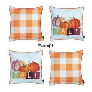 "Fall Season Pumpkin Gingham  Square 18"" Throw Pillow Cover (Set of 4)"
