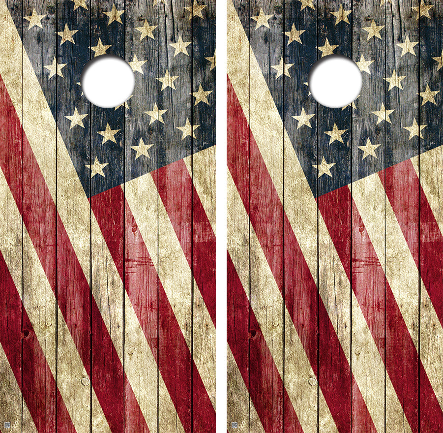 American Flag Distressed Design UV Direct Print Cornhole