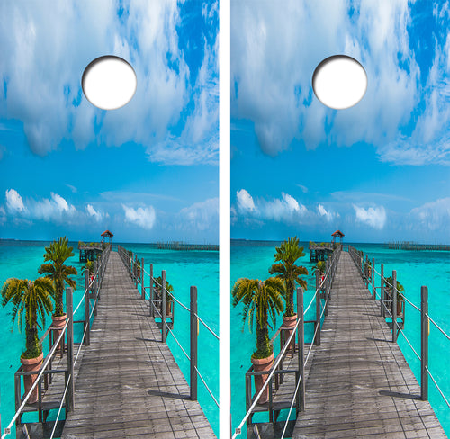 Dock Over Teal Water Palm Trees Design UV Direct Print Cornhole