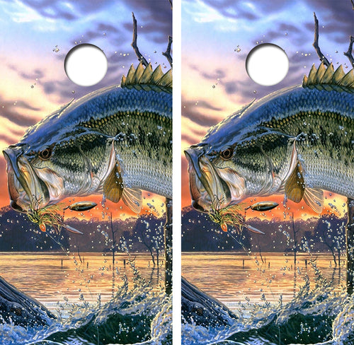 Small Mouth Bass Jumping Design UV Direct Print Cornhole