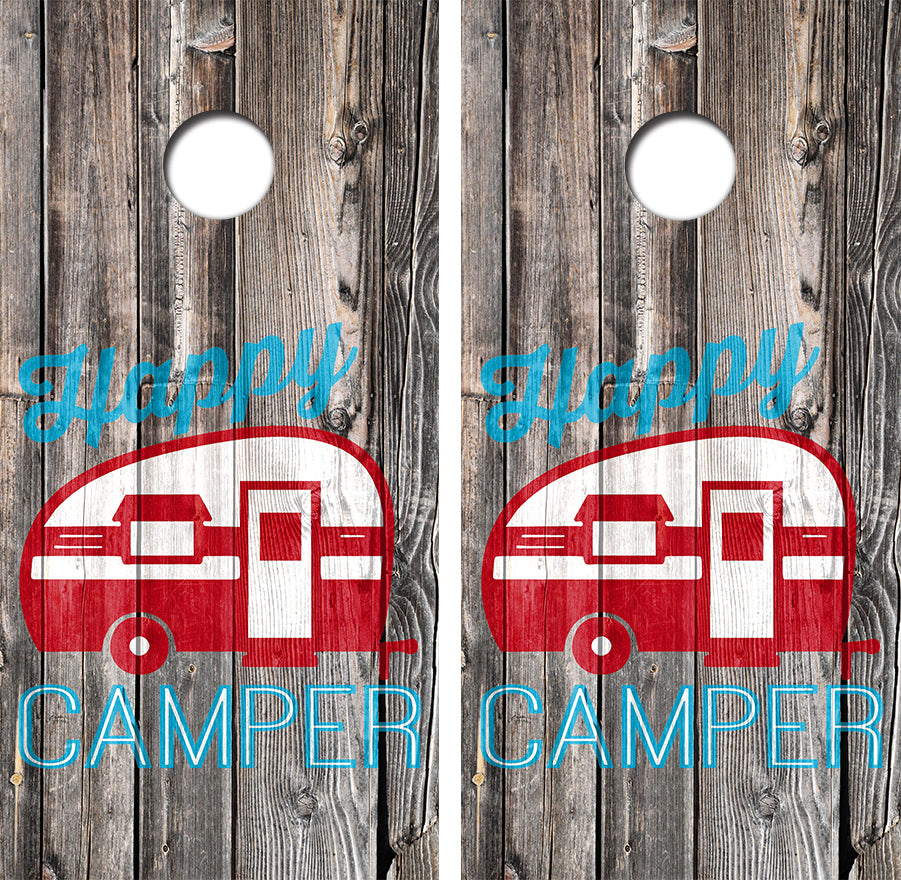Happy Camper Design UV Direct Print Cornhole