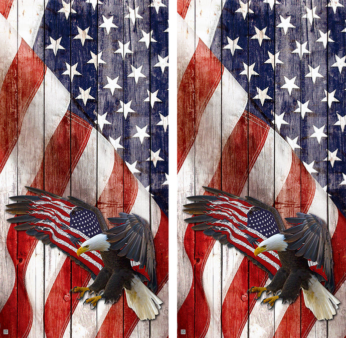 American Flag Bald Eagle Design UV Direct Print Cornhole