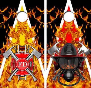Fire Fighter Flames Design UV Direct Print Cornhole