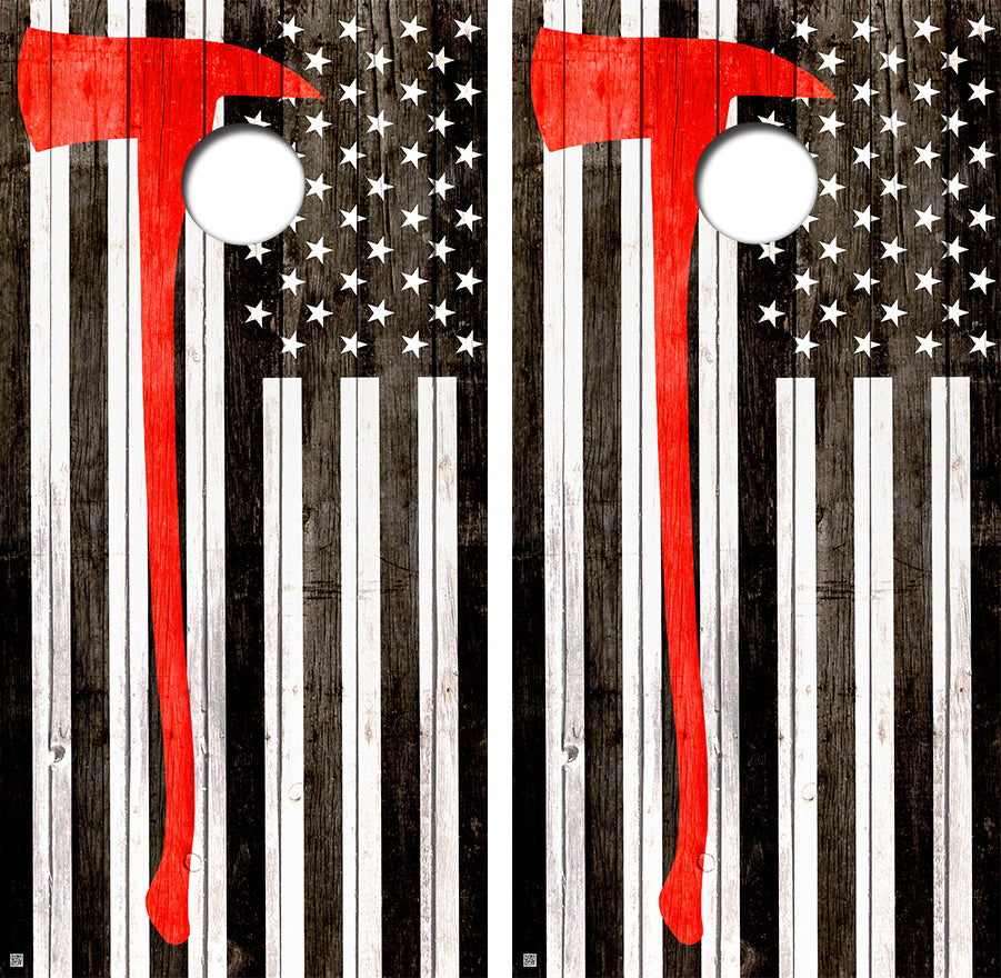 American Flag Fire Fighter Design UV Direct Print Cornhole