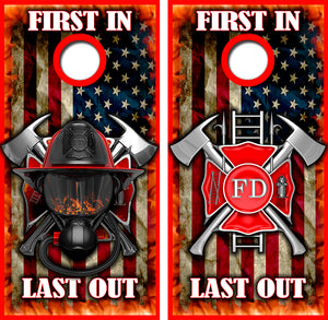 Lirst In Last Out Fire Fighter Design UV Direct Print Cornhole