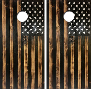 American Flag Wooden Look Design UV Direct Print Cornhole
