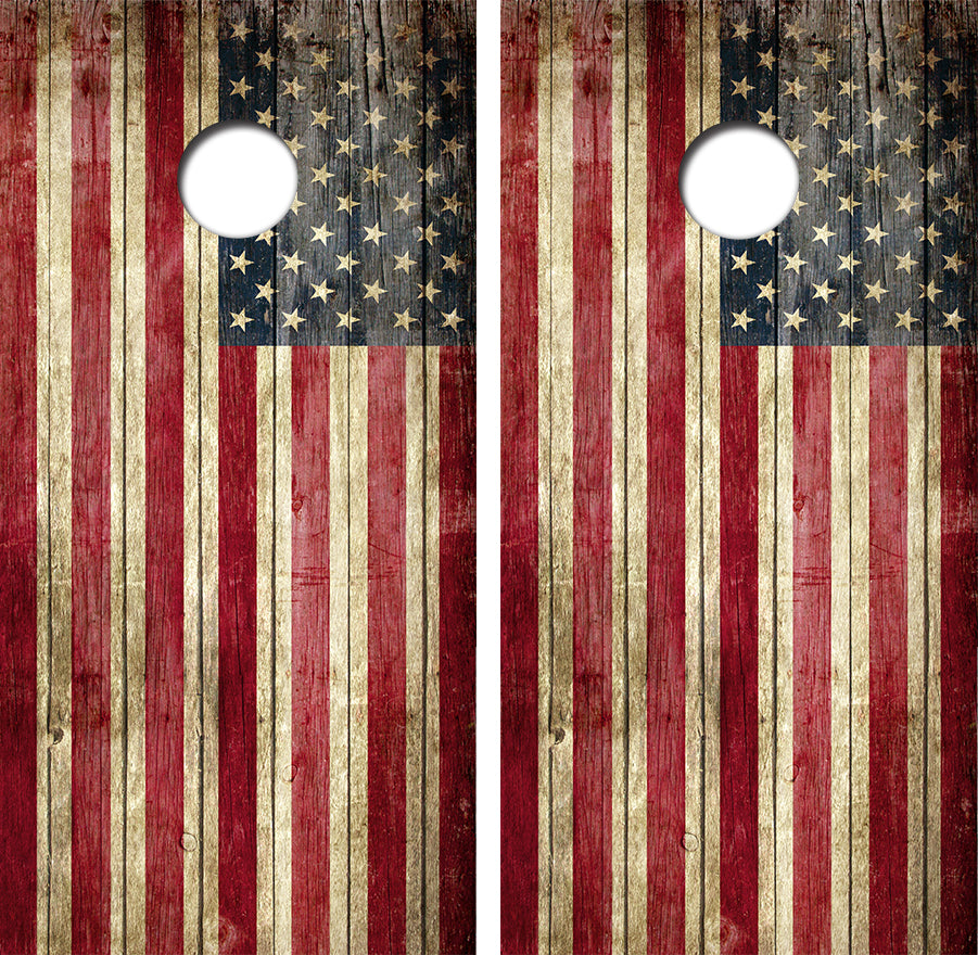 Distressed American Flag Design UV Direct Print Cornhole