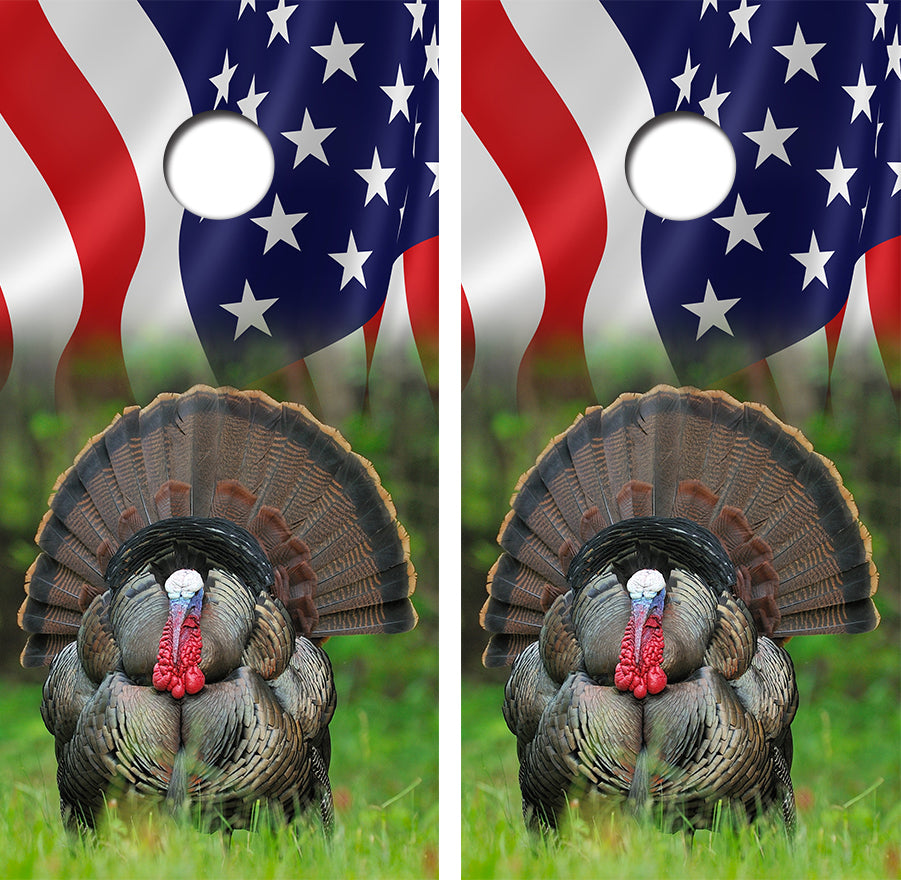 American Flag Turkey Hunting Design UV Direct Print Cornhole