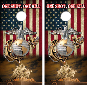 United States Marines One Shot One Kill Design UV Direct Print Cornhole