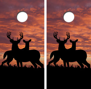 Buck Doe Sunset Design UV Direct Print Cornhole