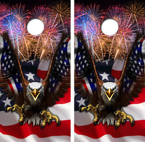 American Flag Bald Eagle Fireworks Design UV Direct Print Cornhole