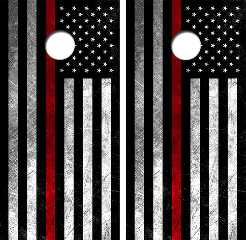 American Flag Red Line Design UV Direct Print Cornhole