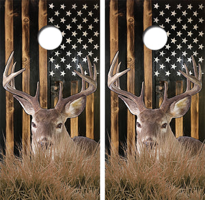 American Flag Whitetail Deer Design UV Direct Print Cornhole