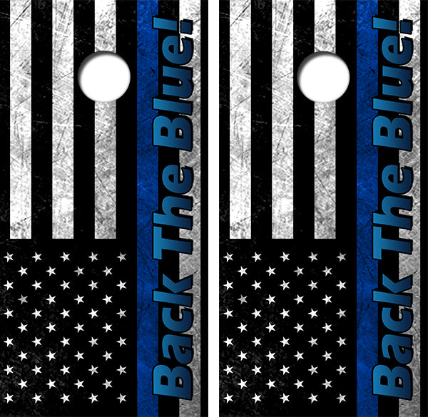 Back The Blue Flag Design UV Direct Print Cornhole