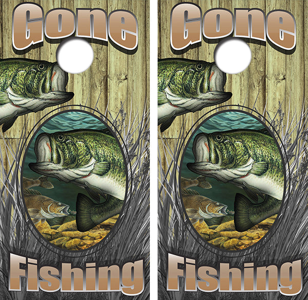 Gone Fishing Smal Mouth Bass Design UV Direct Print Cornhole