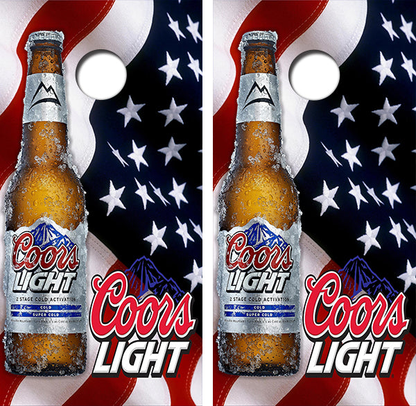 Coors Light Beer Bottle American Flag Design UV Direct Print Cornhole