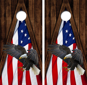 Bald Eagle Americna Flag Design UV Direct Print Cornhole