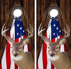 Whitetail Deer American Flag Wood Design UV Direct Print Cornhole