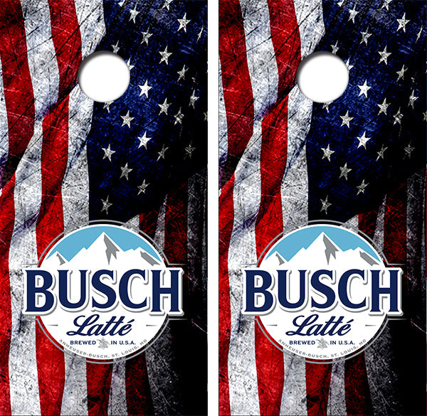 Busch Latte American Flag Design UV Direct Print Cornhole