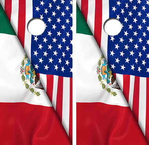 Mexican American Flag Design UV Direct Print Cornhole