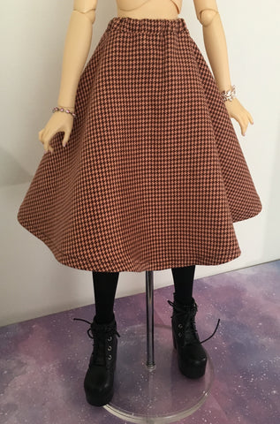 Autumn Houndstooth BJD Skirt