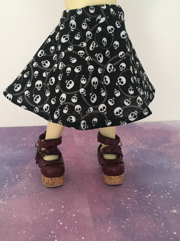 Teeny Swirly Skulls BJD Skirt