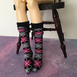 Black-Pink Argyle BJD Socks