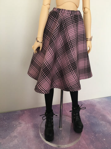 Pink Plaid BJD Skirt