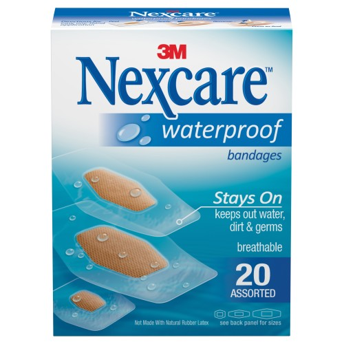 Nexcare™ Waterproof Bandages, 1-1/16 x 2¼ inch, 20/BX
