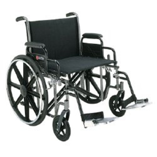 Merits Voyageur Bariatric Wheelchair with Removable Arm, Composite Mag Wheel, 20 in. Seat, Swing-Away Footrest, 400 lbs, 1/EA