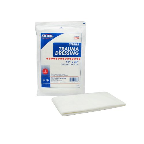 Dukal Rectangular Sterile Multi-Layer Dressing, 12 x 30 in., White, 1/PK
