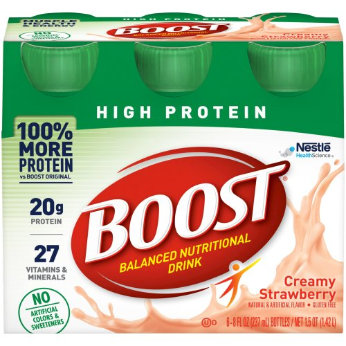 Boost® High Protein Ready to Use Oral Supplement, Creamy Strawberry, 8 oz. Bottle, 1/EA