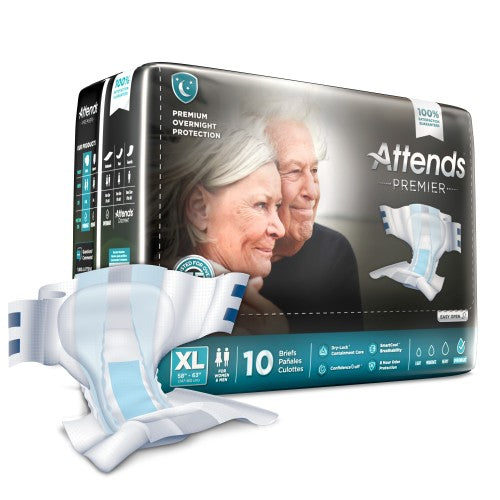Attends® Premier Adult Heavy-Absorbent Incontinence Brief, X-Large, White, 10/BG