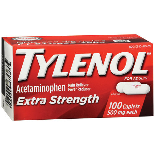 Tylenol® Pain Reliever and Fever Reducer, 100/BX