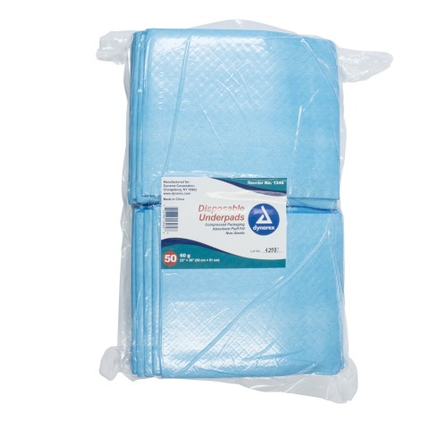 Dynarex® Disposable Light-Absorbent Underpad, 23 X 36 Inch, Blue, 150/CS