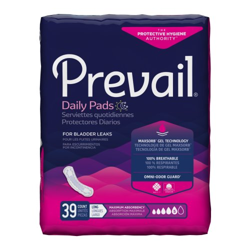 Prevail® Daily Pads Adult Disposable Heavy-Absorbent Bladder Control Pad, 13 Inch Length, 39/PK