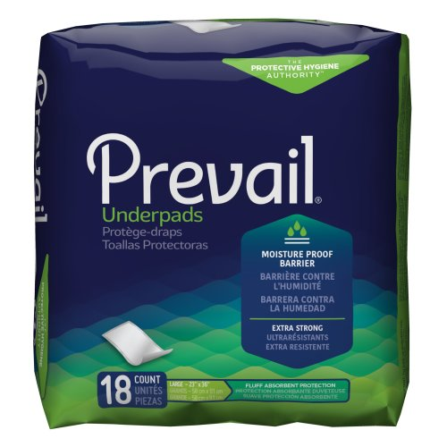 Prevail® Disposable Light-Absorbent Underpad, 23 X 36 Inch, Green, 72/CS