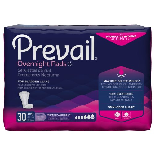 Prevail® Daily Pads Overnignt Adult Disposable Heavy-Absorbent Bladder Control Pad, 16 Inch Length, 30/BG