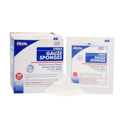 Dukal Square Sterile 8-Ply Gauze Sponge, 2 x 2 in., 2-Pack, 3000/CS