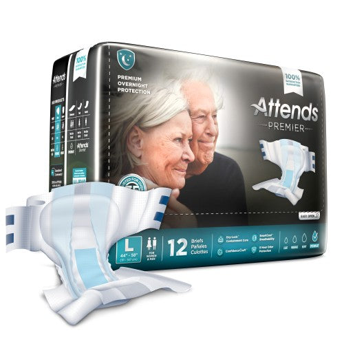 Attends® Premier Adult Heavy-Absorbent Incontinence Brief, Large, White, 12/BG