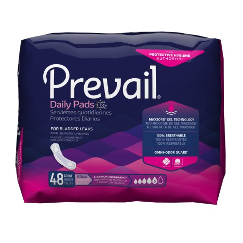 Prevail® Daily Pads Adult Disposable Heavy-Absorbent Bladder Control Pad, 11 Inch Length, 48/PK