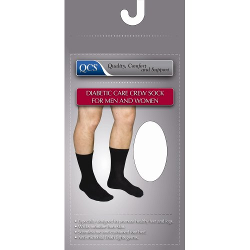 QCS Diabetic Crew Socks, Small / White, 1/PR