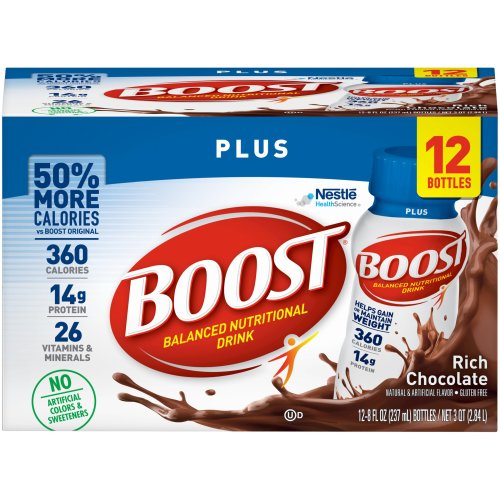 Boost Plus® Balanced Nutritional Drink Oral Supplement, Chocolate, 8 oz. Bottle, 12 pack, 12/PK